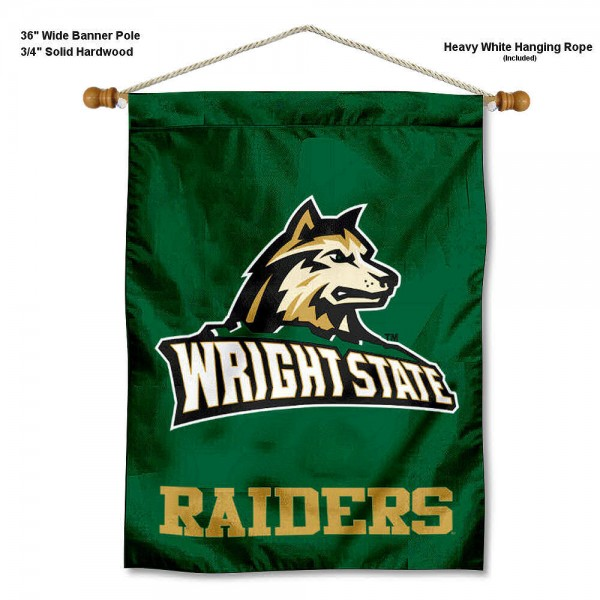 "WSU Raiders Wall Banner is constructed of polyester material, measures a large 30""x40"", offers screen printed athletic logos, and includes a sturdy 3/4"" diameter and 36"" wide banner pole and hanging cord. Our WSU Raiders Wall Banner is Officially Licensed by the selected college and NCAA."
