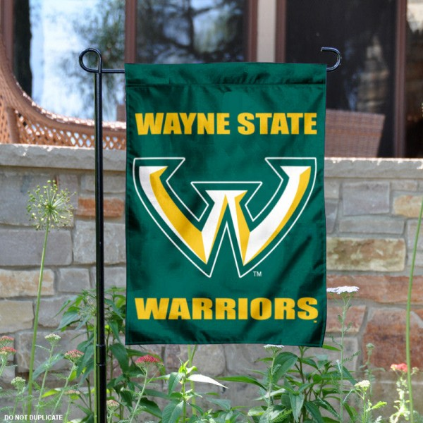 WSU Warriors Garden Flag is 13x18 inches in size, is made of 2-layer polyester, screen printed Wayne State University athletic logos and lettering. Available with Same Day Express Shipping, Our WSU Warriors Garden Flag is officially licensed and approved by Wayne State University and the NCAA.