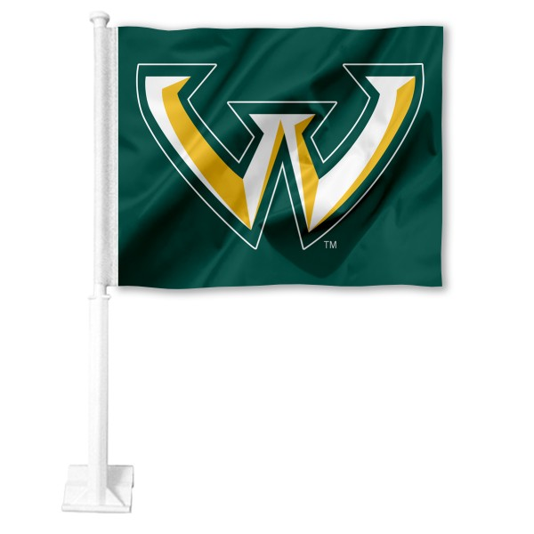 WSU Warriors Logo Car Flag measures 12x15 inches, is constructed of sturdy 2 ply polyester, and has screen printed school logos which are readable and viewable correctly on both sides. WSU Warriors Logo Car Flag is officially licensed by the NCAA and selected university.