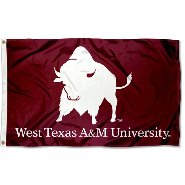 WTAMU Buffaloes New Logo Flag measures 3x5 feet, is made of 100% polyester, offers quadruple stitched flyends, has two metal grommets, and offers screen printed NCAA team logos and insignias. Our WTAMU Buffaloes New Logo Flag is officially licensed by the selected university and NCAA.