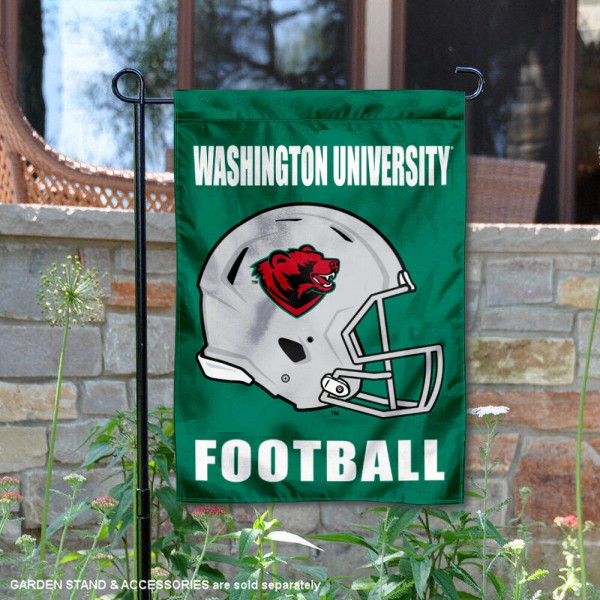 WUSTL Bears Helmet Yard Garden Flag is 13x18 inches in size, is made of 2-layer polyester with Liner, screen printed university athletic logos and lettering, and is readable and viewable correctly on both sides. Available same day shipping, our WUSTL Bears Helmet Yard Garden Flag is officially licensed and approved by the university and the NCAA.