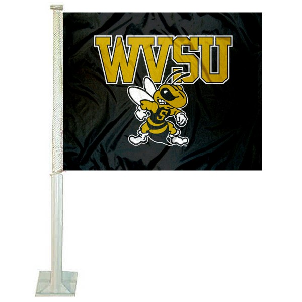 WVSU Yellow Jackets Logo Car Flag measures 12x15 inches, is constructed of sturdy 2 ply polyester, and has screen printed school logos which are readable and viewable correctly on both sides. WVSU Yellow Jackets Logo Car Flag is officially licensed by the NCAA and selected university.