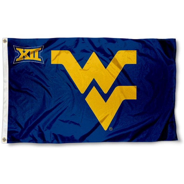 WVU Mountaineers Big 12 Flag measures 3'x5', is made of 100% poly, has quadruple stitched sewing, two metal grommets, and has double sided Team University logos. Our WVU Mountaineers Big 12 Flag is officially licensed by the selected university and the NCAA.