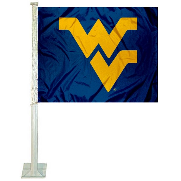 WVU Mountaineers Car Window Flag measures 12x15 inches, is constructed of sturdy 2 ply polyester, and has screen printed school logos which are readable and viewable correctly on both sides. WVU Mountaineers Car Window Flag is officially licensed by the NCAA and selected university.