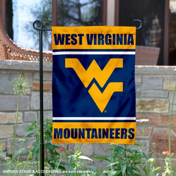 WVU Mountaineers Garden Flag is 13x18 inches in size, is made of 2-layer polyester, screen printed logos and lettering. Available with Same Day Express Shipping, Our WVU Mountaineers Garden Flag is officially licensed and approved by the NCAA.