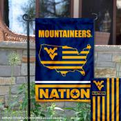 WVU Mountaineers Garden Flag with USA Country Stars and Stripes