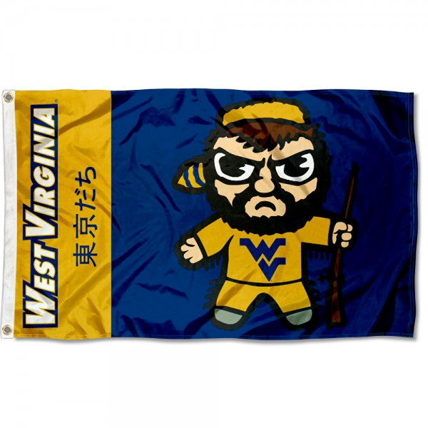 WVU Mountaineers Kawaii Tokyo Dachi Yuru Kyara Flag measures 3x5 feet, is made of 100% polyester, offers quadruple stitched flyends, has two metal grommets, and offers screen printed NCAA team logos and insignias. Our WVU Mountaineers Kawaii Tokyo Dachi Yuru Kyara Flag is officially licensed by the selected university and NCAA.