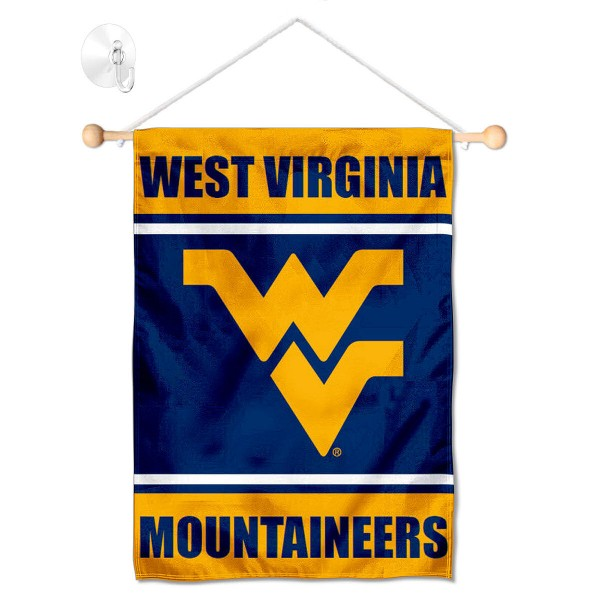 "WVU Mountaineers Window and Wall Banner kit includes our 13""x18"" garden banner which is made of 2 ply poly with liner and has screen printed licensed logos. Also, a 17"" wide banner pole with suction cup is included so your WVU Mountaineers Window and Wall Banner is ready to be displayed with no tools needed for setup. Fast Overnight Shipping is offered and the flag is Officially Licensed and Approved by the selected team."