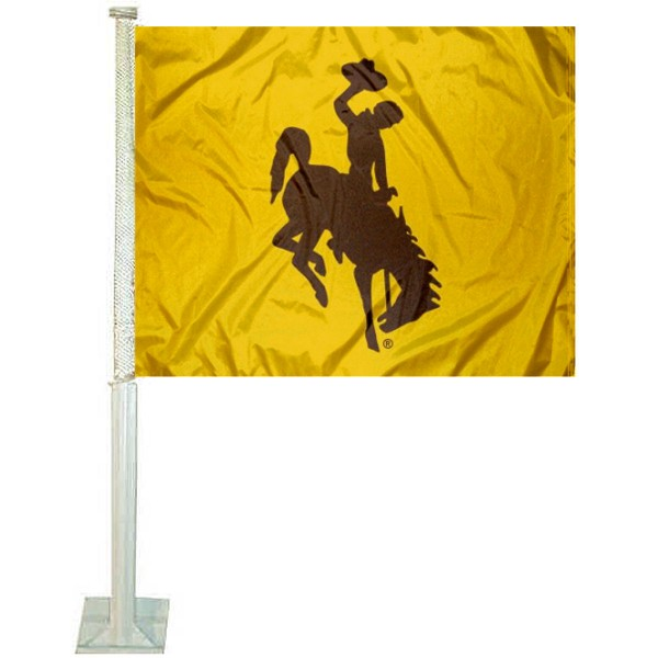 Wyoming Cowboys Car Window Flag measures 12x15 inches, is constructed of sturdy 2 ply polyester, and has screen printed school logos which are readable and viewable correctly on both sides. Wyoming Cowboys Car Window Flag is officially licensed by the NCAA and selected university.