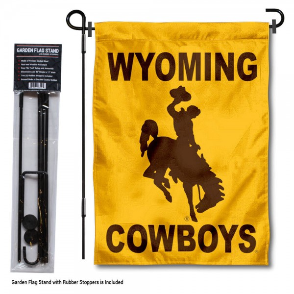 "Wyoming Cowboys Garden Flag and Pole Stand kit includes our 13""x18"" garden banner which is made of 2 ply poly with liner and has screen printed licensed logos. Also, a 40""x17"" inch garden flag stand is included so your Wyoming Cowboys Garden Flag and Pole Stand is ready to be displayed with no tools needed for setup. Fast Overnight Shipping is offered and the flag is Officially Licensed and Approved by the selected team."