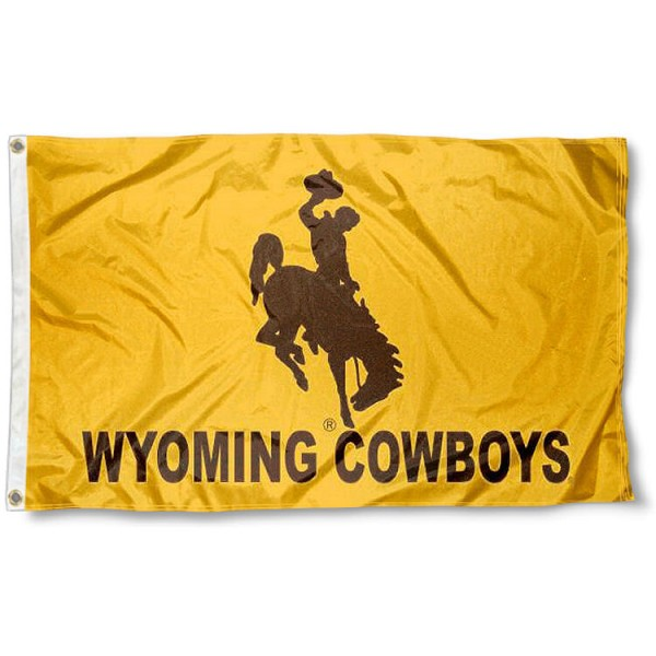 Wyoming Cowboys Gold Flag measures 3x5 feet, is made of 100% polyester, offers quadruple stitched flyends, has two metal grommets, and offers screen printed NCAA team logos and insignias. Our Wyoming Cowboys Gold Flag is officially licensed by the selected university and NCAA.