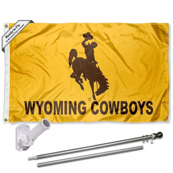 Our Wyoming Cowboys Gold Flag Pole and Bracket Kit includes the flag as shown and the recommended flagpole and flag bracket. The flag is made of polyester, has quad-stitched flyends, and the NCAA Licensed team logos are double sided screen printed. The flagpole and bracket are made of rust proof aluminum and includes all hardware so this kit is ready to install and fly.