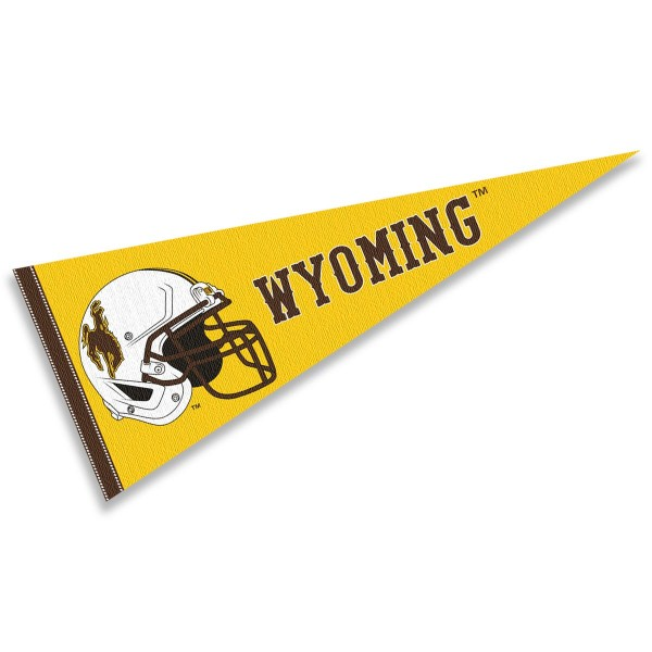 Wyoming Cowboys Helmet Pennant consists of our full size sports pennant which measures 12x30 inches, is constructed of felt, is single sided imprinted, and offers a pennant sleeve for insertion of a pennant stick, if desired. This Wyoming Cowboys Pennant Decorations is Officially Licensed by the selected university and the NCAA.