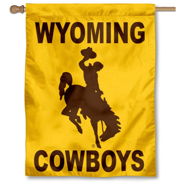 Wyoming Cowboys House Flag is a vertical house flag which measures 30x40 inches, is made of 2 ply 100% polyester, offers dye sublimated NCAA team insignias, and has a top pole sleeve to hang vertically. Our Wyoming Cowboys House Flag is officially licensed by the selected university and the NCAA