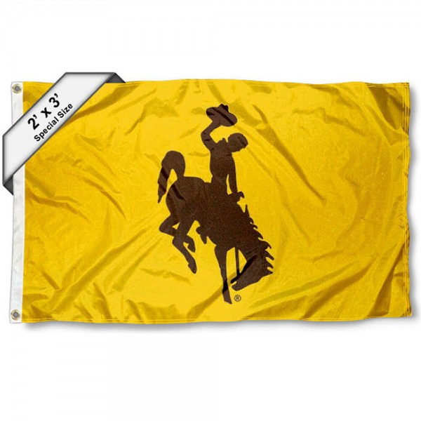 Wyoming Cowboys Small 2'x3' Flag measures 2x3 feet, is made of 100% polyester, offers quadruple stitched flyends, has two brass grommets, and offers printed Wyoming Cowboys logos, letters, and insignias. Our 2x3 foot flag is Officially Licensed by the selected university.