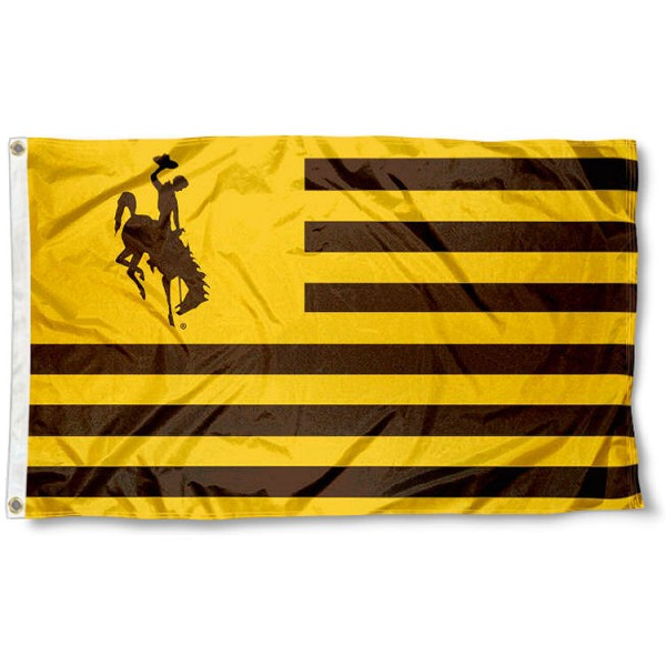 Wyoming Cowboys Stripes Flag measures 3'x5', is made of polyester, offers double stitched flyends for durability, has two metal grommets, and is viewable from both sides with a reverse image on the opposite side. Our Wyoming Cowboys Stripes Flag is officially licensed by the selected school university and the NCAA.