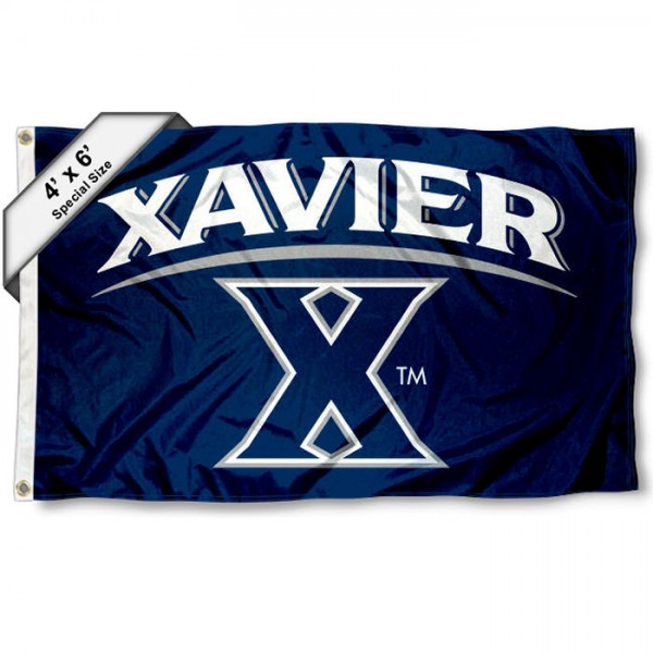 Xavier Musketeers Large 4x6 Flag measures 4x6 feet, is made thick woven polyester, has quadruple stitched flyends, two metal grommets, and offers screen printed NCAA Xavier Musketeers Large athletic logos and insignias. Our Xavier Musketeers Large 4x6 Flag is officially licensed by Xavier Musketeers and the NCAA.
