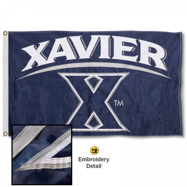 Xavier Musketeers Nylon Embroidered Flag measures 3'x5', is made of 100% nylon, has quadruple flyends, two metal grommets, and has double sided appliqued and embroidered University logos. These Xavier Musketeers 3x5 Flags are officially licensed by the selected university and the NCAA.