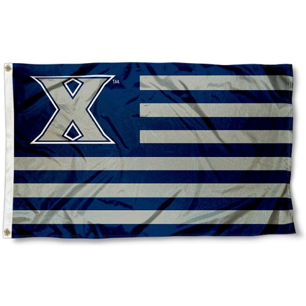 Xavier Musketeers Stripes Flag measures 3'x5', is made of polyester, offers double stitched flyends for durability, has two metal grommets, and is viewable from both sides with a reverse image on the opposite side. Our Xavier Musketeers Stripes Flag is officially licensed by the selected school university and the NCAA.