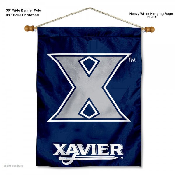 """Xavier Musketeers Wall Banner is constructed of polyester material, measures a large 30""""x40"""", offers screen printed athletic logos, and includes a sturdy 3/4"""" diameter and 36"""" wide banner pole and hanging cord. Our Xavier Musketeers Wall Banner is Officially Licensed by the selected college and NCAA."""