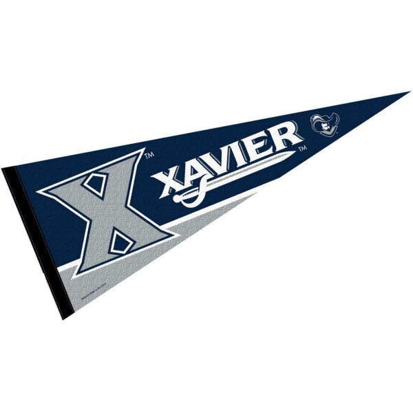 Xavier Pennant is 12x30 inches, is made of felt, has a pennant stick sleeve, and the Xavier logos are single sided screen printed. Our Xavier Pennant is licensed by the NCAA and Xavier University.
