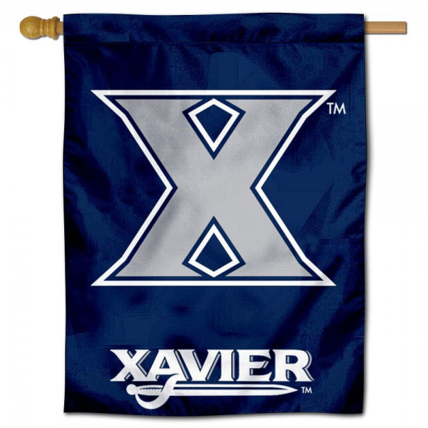 Xavier University Banner Flag is constructed of polyester material, is a vertical house flag, measures 30x40 inches, offers screen printed NCAA team insignias, and has a top pole sleeve to hang vertically. Our Xavier University Banner Flag is officially licensed by the selected university and NCAA