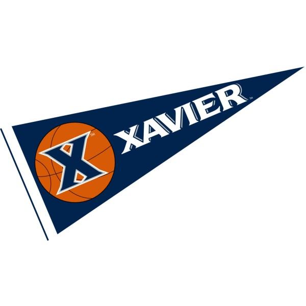 Xavier University Basketball Pennant consists of our full size sports pennant which measures 12x30 inches, is constructed of felt, is single sided imprinted, and offers a pennant sleeve for insertion of a pennant stick, if desired. This Xavier University Pennant Decorations is Officially Licensed by the selected university and the NCAA.