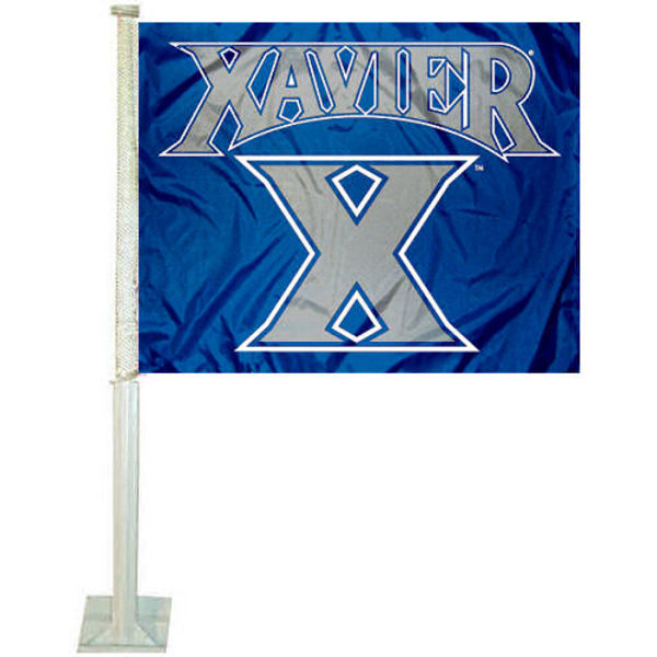 Xavier University Car Flag measures 12x15 inches, is constructed of sturdy 2 ply nylon, and has dye sublimated school logos which are readable and viewable correctly on both sides. Xavier University Car Flag is officially licensed by the NCAA and selected university