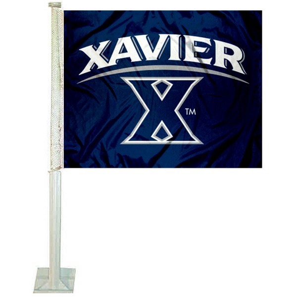 Xavier University Car Window Flag measures 12x15 inches, is constructed of sturdy 2 ply polyester, and has screen printed school logos which are readable and viewable correctly on both sides. Xavier University Car Window Flag is officially licensed by the NCAA and selected university.
