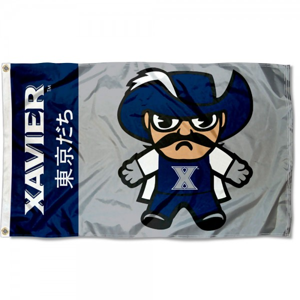 Xavier University Kawaii Tokyo Dachi Yuru Kyara Flag measures 3x5 feet, is made of 100% polyester, offers quadruple stitched flyends, has two metal grommets, and offers screen printed NCAA team logos and insignias. Our Xavier University Kawaii Tokyo Dachi Yuru Kyara Flag is officially licensed by the selected university and NCAA.
