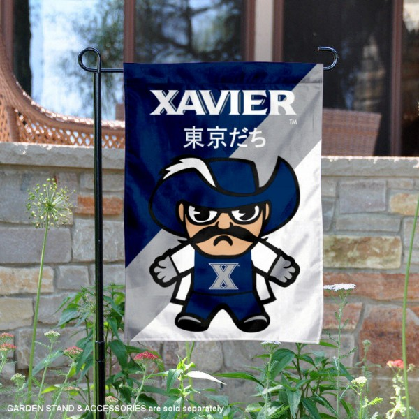 Xavier University Tokyodachi Mascot Yard Flag is 13x18 inches in size, is made of double layer polyester, screen printed university athletic logos and lettering, and is readable and viewable correctly on both sides. Available same day shipping, our Xavier University Tokyodachi Mascot Yard Flag is officially licensed and approved by the university and the NCAA.