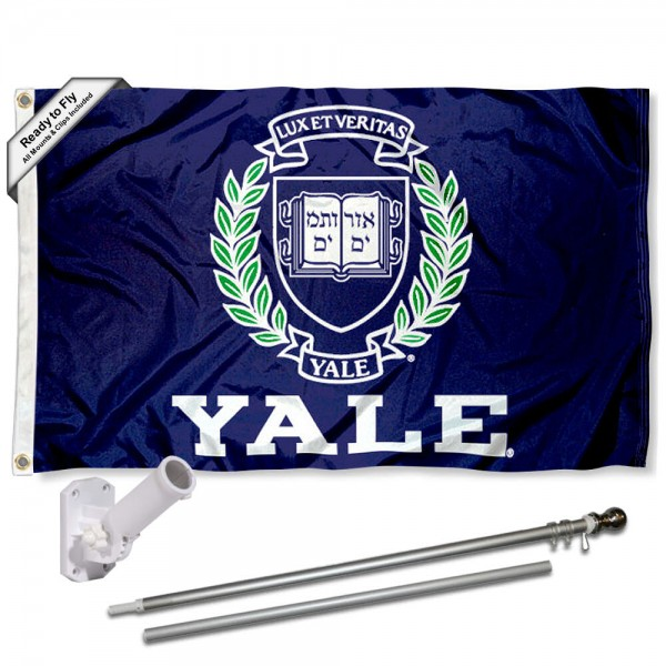 Our Yale Bulldogs Flag Pole and Bracket Kit includes the flag as shown and the recommended flagpole and flag bracket. The flag is made of nylon, has quad-stitched flyends, and the NCAA Licensed team logos are double sided screen printed. The flagpole and bracket are made of rust proof aluminum and includes all hardware so this kit is ready to install and fly.