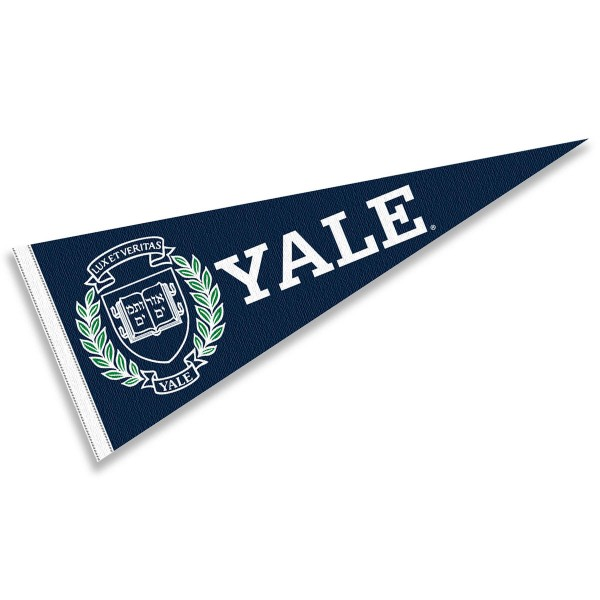 Yale Felt Pennant consists of our full size pennant which measures 12x30 inches, constructed of felt, single sided imprinted, and offers a pennant stick sleeve. This Yale Felt Pennant is officially licensed by the selected University and the NCAA.
