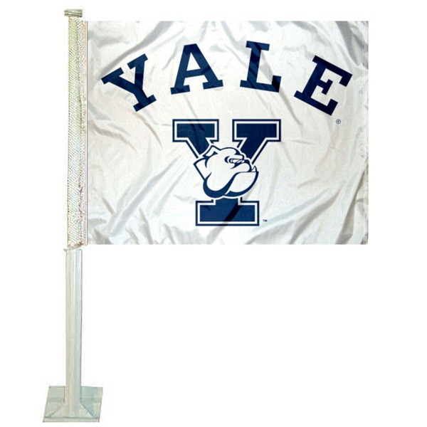 Yale University Car Flag measures 12x15 inches, is constructed of sturdy 2 ply polyester, and has screen printed school logos which are readable and viewable correctly on both sides. Yale University Car Flag is officially licensed by the NCAA and selected university.