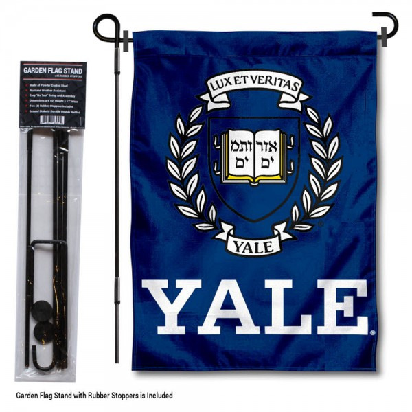 """Yale University Garden Flag and Stand kit includes our 13""""x18"""" garden banner which is made of 2 ply poly with liner and has screen printed licensed logos. Also, a 40""""x17"""" inch garden flag stand is included so your Yale University Garden Flag and Stand is ready to be displayed with no tools needed for setup. Fast Overnight Shipping is offered and the flag is Officially Licensed and Approved by the selected team."""