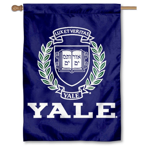 Yale University House Flag is a vertical house flag which measures 28x40 inches, is made of 2 ply 100% nylon, offers dye sublimated NCAA team insignias, and has a top pole sleeve to hang vertically. Our Yale University House Flag is officially licensed by the selected university and the NCAA