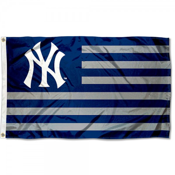 Yankees Nation Flag measures 3x5 feet, is made of polyester, offers quad-stitched flyends, has two metal grommets, and is viewable from both sides with a reverse image on the opposite side. Our Yankees Nation Flag is Genuine MLB Merchandise.