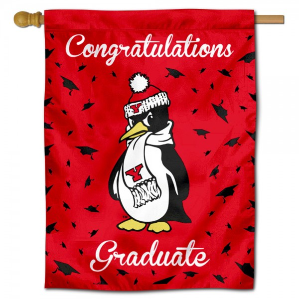 Youngstown State Penguins Congratulations Graduate Flag measures 30x40 inches, is made of poly, has a top hanging sleeve, and offers dye sublimated Youngstown State Penguins logos. This Decorative Youngstown State Penguins Congratulations Graduate House Flag is officially licensed by the NCAA.