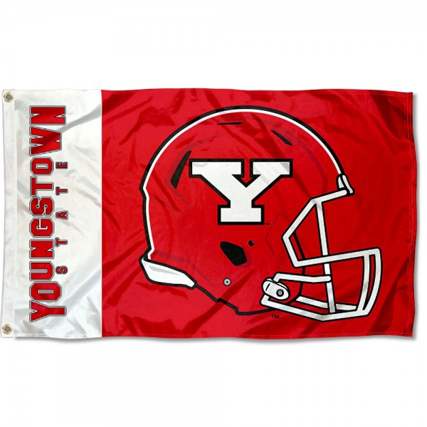 Youngstown State Penguins Football Helmet Flag measures 3x5 feet, is made of 100% polyester, offers quadruple stitched flyends, has two metal grommets, and offers screen printed NCAA team logos and insignias. Our Youngstown State Penguins Football Helmet Flag is officially licensed by the selected university and NCAA.