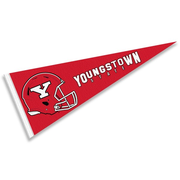 Youngstown State Penguins Helmet Pennant consists of our full size sports pennant which measures 12x30 inches, is constructed of felt, is single sided imprinted, and offers a pennant sleeve for insertion of a pennant stick, if desired. This Youngstown State Penguins Pennant Decorations is Officially Licensed by the selected university and the NCAA.