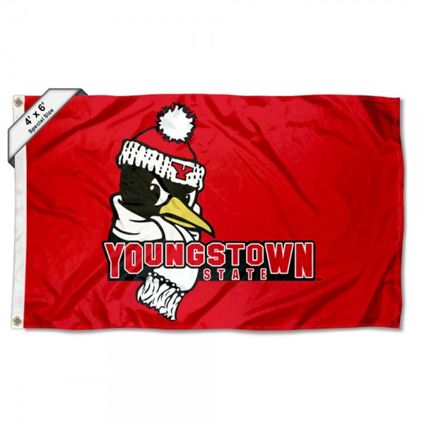 Youngstown State Penguins Large 4x6 Flag measures 4x6 feet, is made thick woven polyester, has quadruple stitched flyends, two metal grommets, and offers screen printed NCAA Youngstown State Penguins Large athletic logos and insignias. Our Youngstown State Penguins Large 4x6 Flag is officially licensed by Youngstown State Penguins and the NCAA.