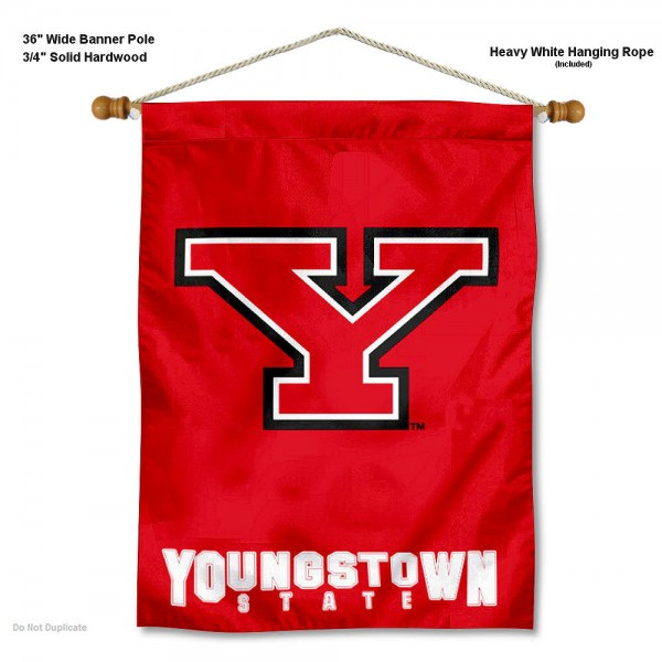 "Youngstown State Penguins Wall Banner is constructed of polyester material, measures a large 30""x40"", offers screen printed athletic logos, and includes a sturdy 3/4"" diameter and 36"" wide banner pole and hanging cord. Our Youngstown State Penguins Wall Banner is Officially Licensed by the selected college and NCAA."