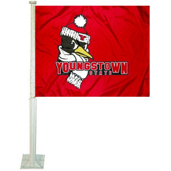 Youngstown State University Car Window Flag measures 12x15 inches, is constructed of sturdy 2 ply polyester, and has dye sublimated school logos which are readable and viewable correctly on both sides. Youngstown State University Car Window Flag is officially licensed by the NCAA and selected university.