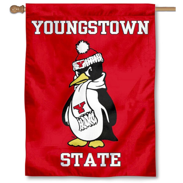 YSU Penguins Banner Flag is a vertical house flag which measures 30x40 inches, is made of 2 ply 100% polyester, offers screen printed NCAA team insignias, and has a top pole sleeve to hang vertically. Our YSU Penguins Banner Flag is officially licensed by the selected university and the NCAA.