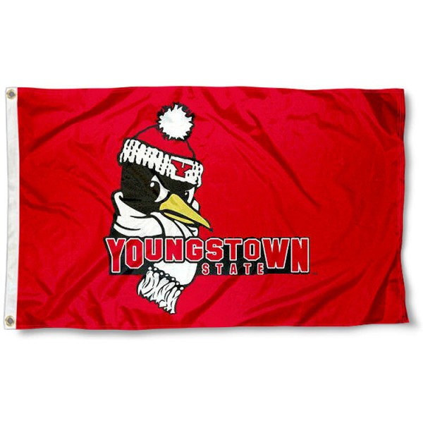 YSU Penguins Flag measures 3'x5', is made of 100% poly, has quadruple stitched sewing, two metal grommets, and has double sided Youngstown State University logos. Our YSU Penguins Flag is officially licensed by the selected university and the NCAA