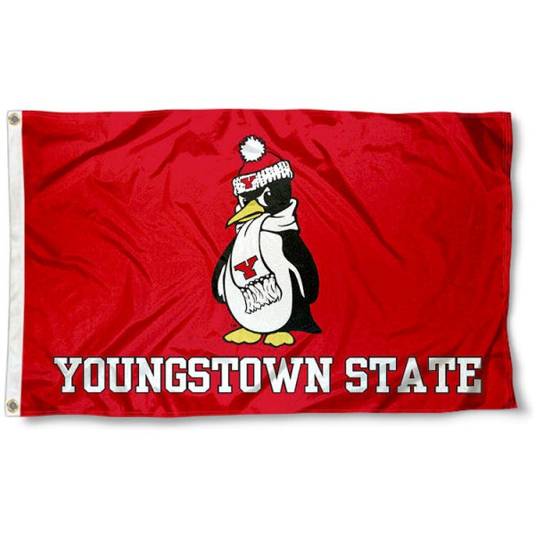 YSU Penguins Logo Outdoor Flag measures 3'x5', is made of 100% poly, has quadruple stitched sewing, two metal grommets, and has double sided Youngstown State logos. Our YSU Penguins Logo Outdoor Flag is officially licensed by the selected university and the NCAA.