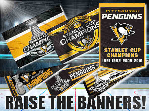 Pittsburgh Penguins Stanley Cups Flags and Banners
