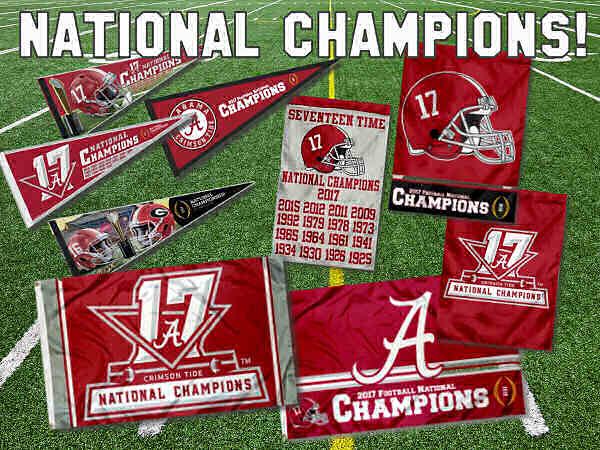 Alabama College Football National Champions Flags and Pennants