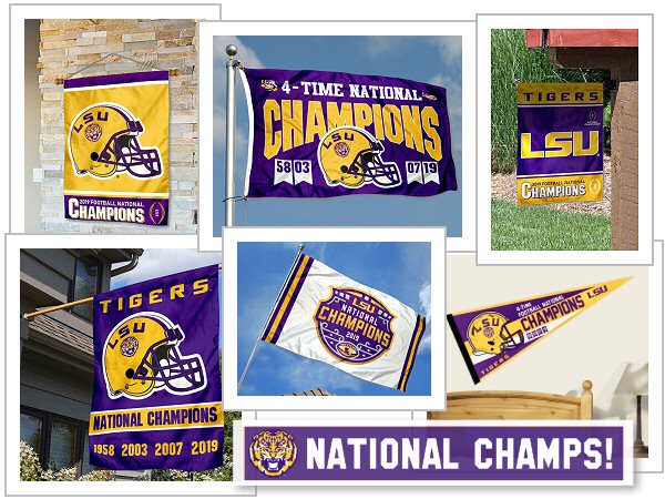 LSU Tigers National Playoff Champions Flags and Banners