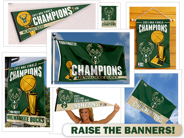 Milwaukee Bucks NBA Champions Flags Banners